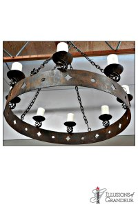 "Wrought Iron Chandelier 38""x38""x12""H"