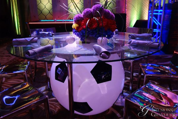 Illuminated Soccer Ball Dining Tables