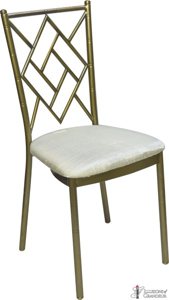 Bronze Diamond Chairs with Ivory Satin Cushion