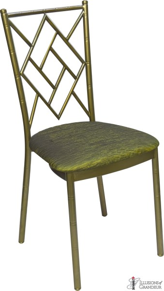 Bronze Diamond Chairs with Moss Green Cushion