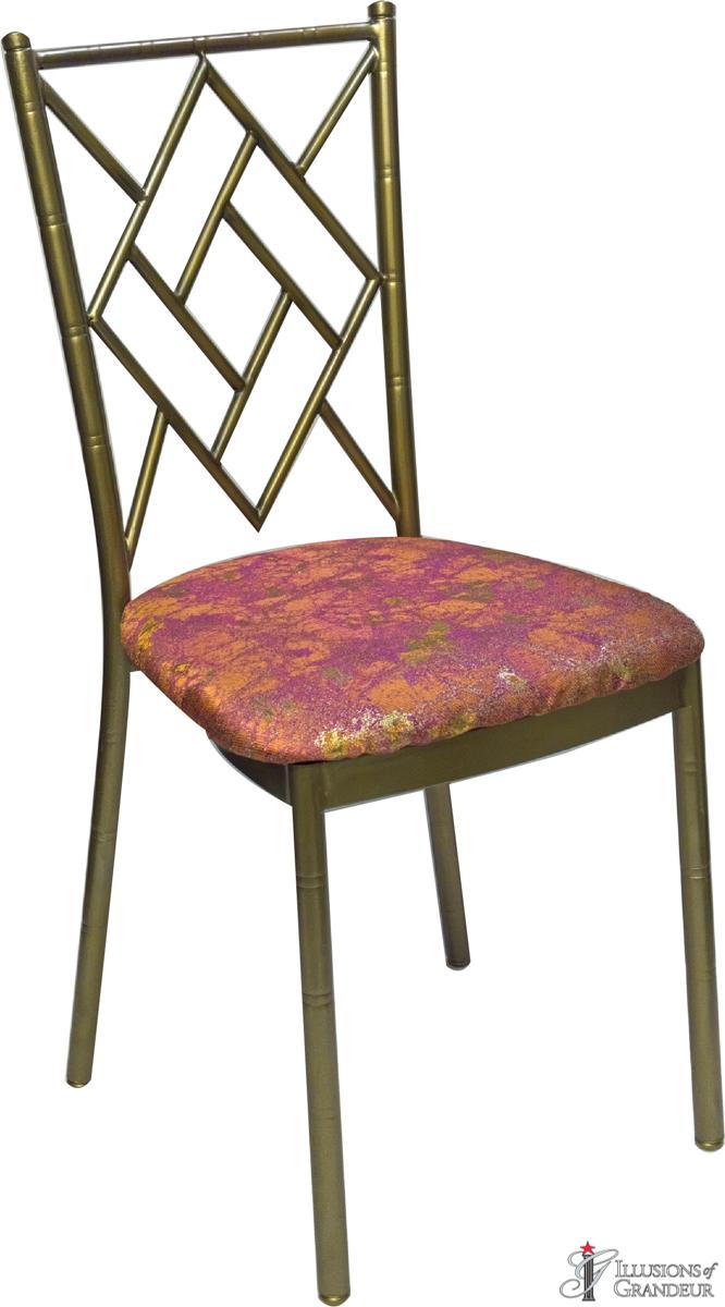 Bronze Diamond Chairs with Orange Travertine Cushions