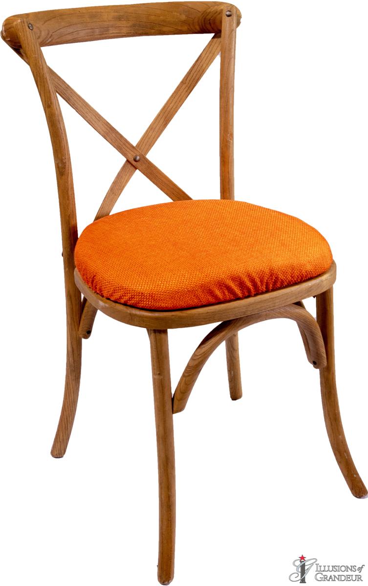 Vineyard Chairs with Orange Jute Cushions