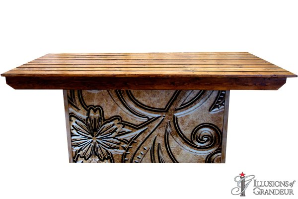 Illuminated Tooled Leather Wood Dining Top Tables