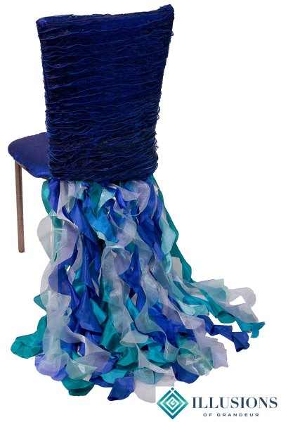 Bronze Diamond Chairs with Blue Ribbons