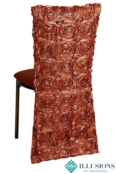 Bronze Diamond Chairs with Burnt Orange Rose Chair Back Covers