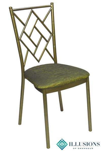Bronze Diamond Chairs with Moss Green Cushion
