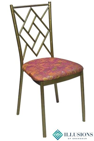 Bronze Diamond Chairs with Orange Travertine Cushion