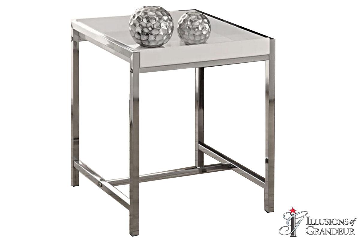 White Chrome End Tables