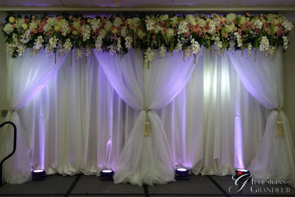 Wedding Fabric Drape with Flowers