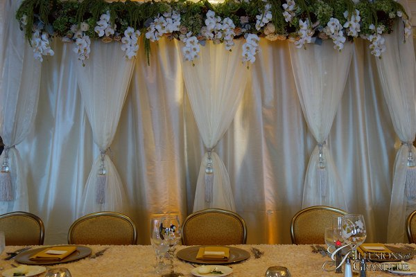 Wedding Head Table Fabric with Flowers
