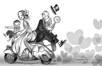 married on motorbike