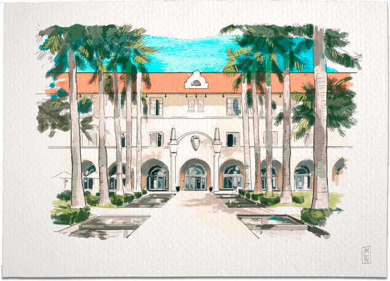 CASA MARINA WALDORF ASTORIA – FLORIDA Wedding Invitation Illustration