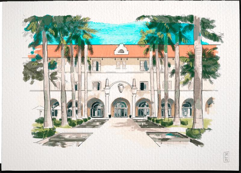CASA MARINA WALDORF ASTORIA – FLORIDA Wedding Invitation Illustration