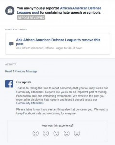 Facebook reporting that said post didn't violate community standards
