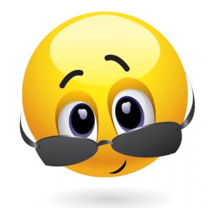 Emoticon giallo d con gli occhiali illustrazione vettoriale