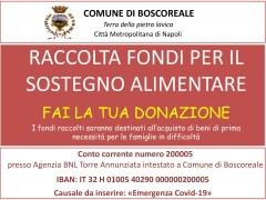 Boscoreale (NA) apre un conto corrente per donazioni di solidarietà contro il COVID-19