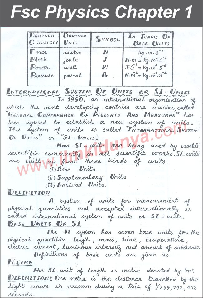 Punjab Board 11th Class Physics Chapter 1 Notes