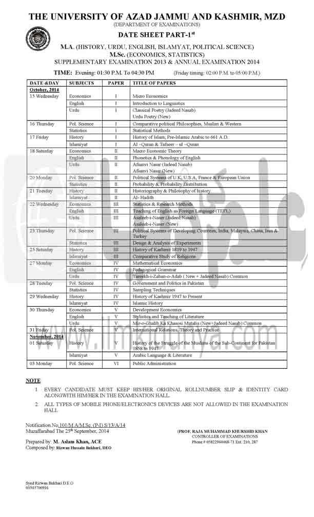 AJK University MA MSc Part 1 and 2 Date Sheet 2020