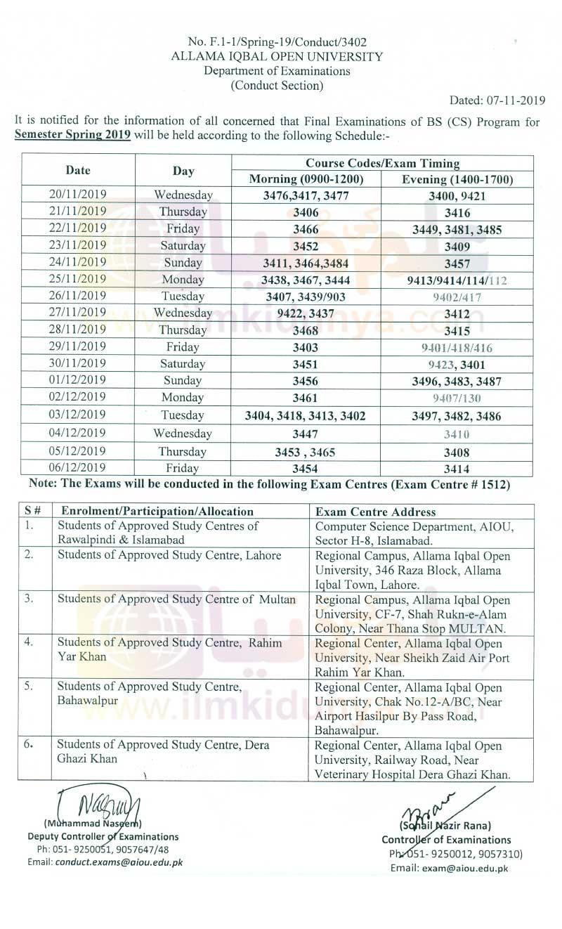 Allama Iqbal Open University AIOU BS Programs Date Sheet 2021