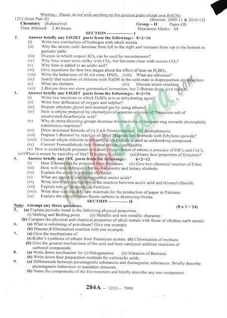 BISE Sargodha Board Chemistry FSc Part 2 Past Papers