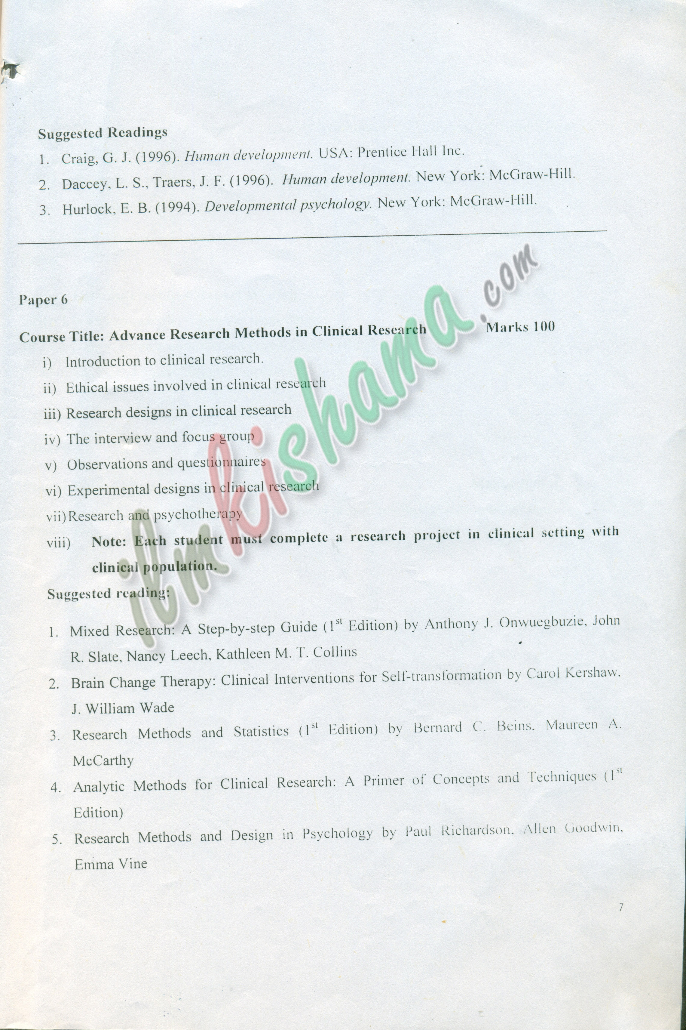 Syllabus Advance Diploma in Clinical Psychology Sargodha