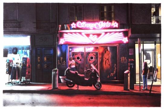 Paolo Amico __La tigre nella notte__ penne a sfera su carta cm 50x70 2013