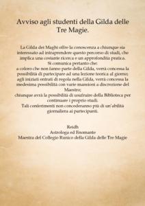 Gilda dei Maghi – avviso agli studenti