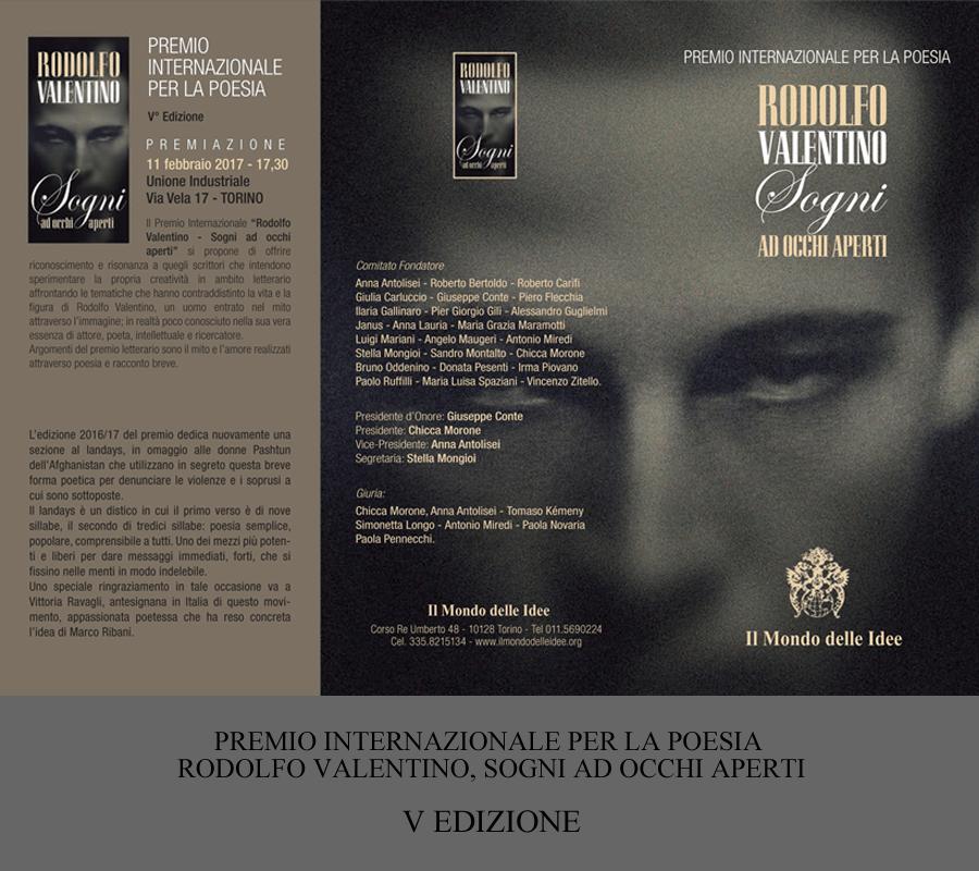 """PREMIO INTERNAZIONALE PER LA POESIA """"Rodolfo Valentino – Sogni ad occhi aperti""""  V° Edizione"""