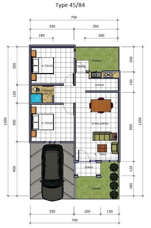 Model Desain Denah Rumah Minimalis Sederhana Type 36