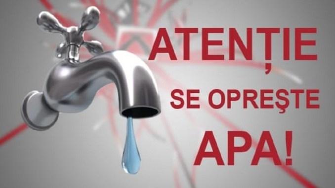 Atenție, se oprește apa în cartierul Ionel Perlea din Slobozia!