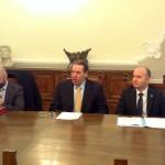 Il Presidente Di Giuseppantonio, l'Assessore Marcello e il rappresentante dell'ordine ingegneri D'Orsogna