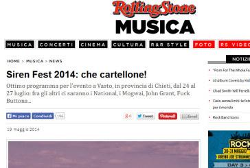 Il Siren Festival di Vasto sulla celebre rivista musicale Rolling Stone