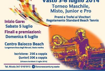 Dal Lions Club Vasto New Century un torneo di beach tennis per beneficenza