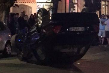 Corso Mazzini, auto si ribalta ed il conducente finisce in ospedale