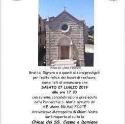 A Lentella riapre la Chiesa dei santi Cosma e Damiano