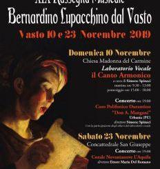 """Torna il tradizionale appuntamento con la Rassegna Musicale """"B. Lupacchino dal Vasto"""""""
