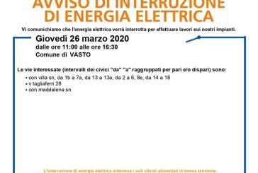 Vasto, interrotta in tre vie cittadine l'energia elettrica