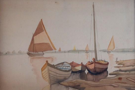 Carlo d'Aloisio da Vasto - Sul fiume - 34x42 acquerello su carta