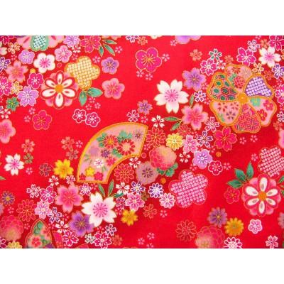 coupon tissu japonais traditionnel fleuri coton