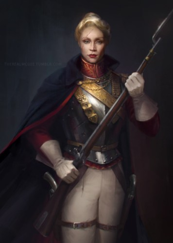 Captain Phasma in a regency dress