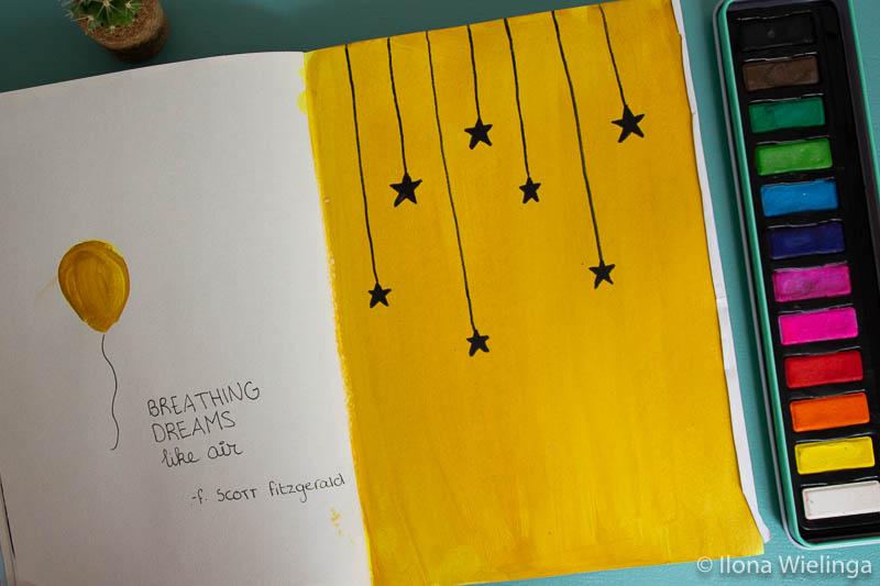 art journal inspiratie sterren quote
