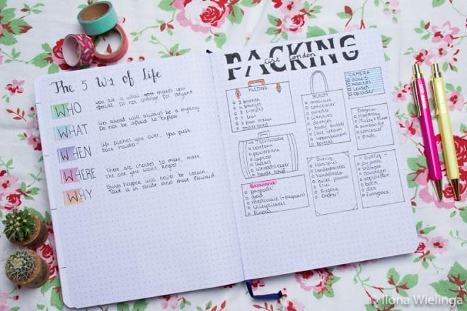 bullet journal april inspiratie packing list 5 w's