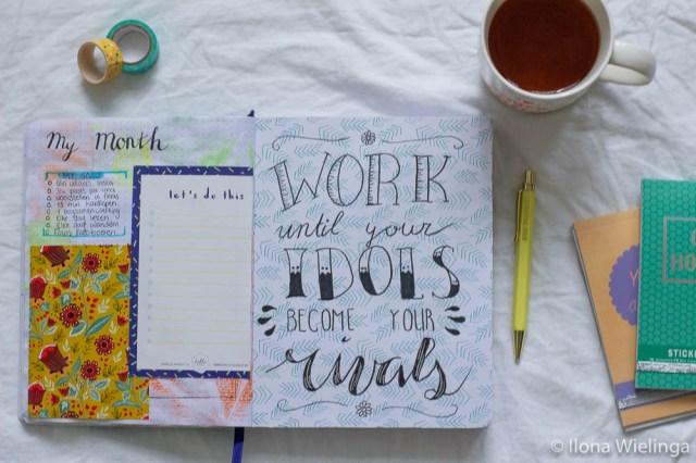 bullet journal 3 maandoverzicht inspirerende quote