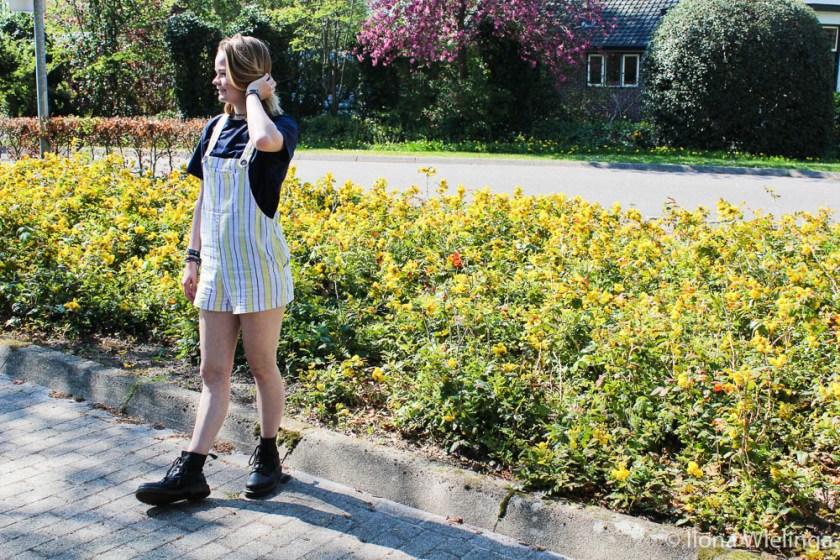 outfit 2 tuinbroek forever 21 geel met blauw