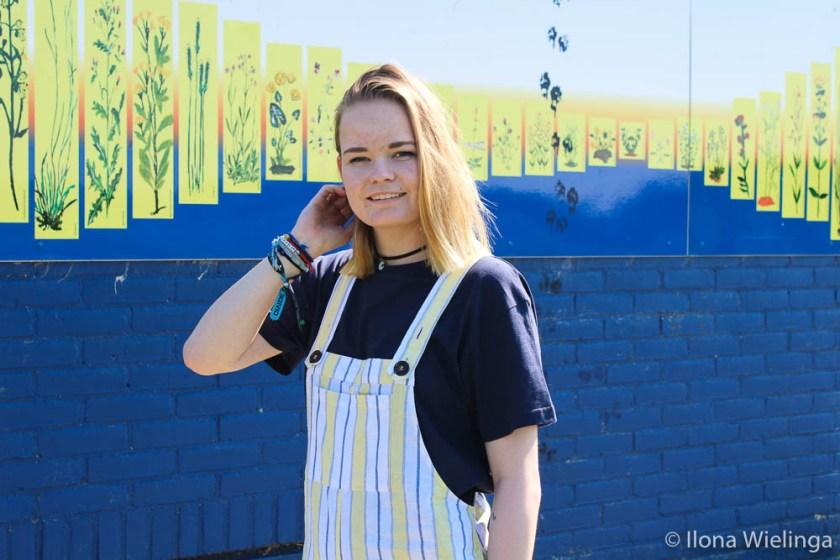 outfit 7 tuinbroek forever 21 geel met blauw