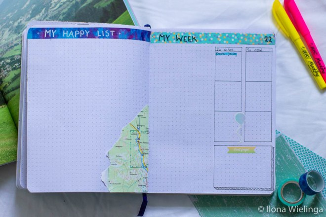 bullet journal happy things weekoverzicht
