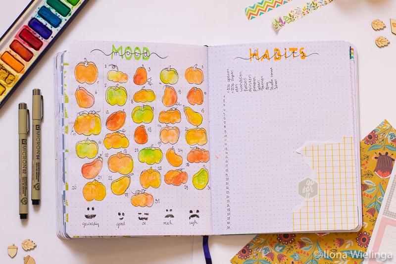 bullet journal oktober-4 mood tracker habit tracker