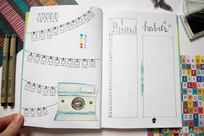 bullet journal februari mood tracker habit tracker