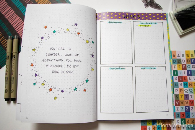bullet journal februari quote en weekoverzicht