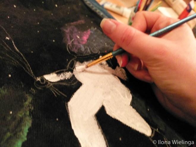 diy spijkerjack acrylverf